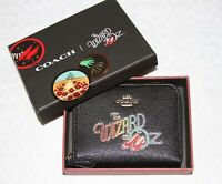💚 COACH x Wizard of Oz Small Zip Around Wallet Black Leather Purse New in Box