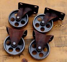 4 Gussräder 100mm Möbelräder Bock-/Lenk-Rollen Retro Vintage Industrial Design..