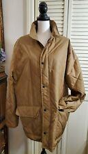 Polo Ralph Lauren Brown Quilted Car Coat Jacket Gray Wool Herringbone Lining L