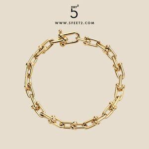 Chunky city hardwear bracelet interlocketing links gold color