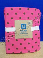 Pottery Barn Teen Tonal Dottie Bed Dorm Sheets Set XL Twin Dark Pink Coffee