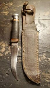 Vintage Kabar USA Fixed Blade Hunting Knife 1233 With Leather Sheath