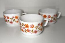 Lote De 3 Tazas Vintage Arcopal Francia D 7,5 Cm Flores Naranja Ver Fotos