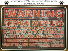 "Metal Warning German Shepherd Dog Sign For FENCE ,Beware Of Dog 8""x12"""