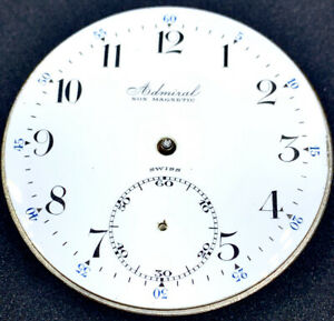Tacy Admiral Pocket Watch Movement 16s Double Sunk Porcelain Dial Parts F3994