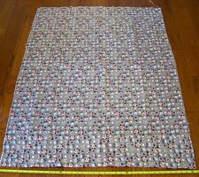 Vintage 1950s Bark Cloth Fabric Gray Pink/Blue Flowers Remnant 42 x 40