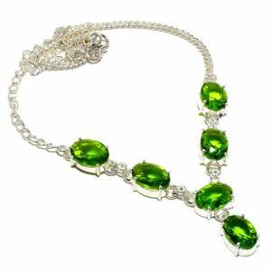 "Peridot Gemstone Handmade Ethnic 925 Sterling Silver Jewelry N-45 Necklace 18"""