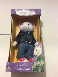 Vintage Poseable Stuart Little Doll Plush Removable Clothing 1999 Flannel PJ's