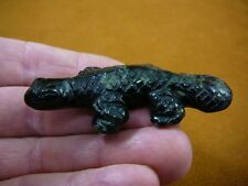 (Y-LIZ-UR-707) Black Green UROMASTYX LIZARD carving FIGURINE gemstone lizards