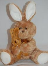 """Momma Baby Brown Easter Bunny Rabbit Bow White Feet Ears Plush Best Made Toy 12"""""""