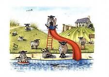 "Mark Denman greeting card "" Sheep dip "" signed print of sheep in swimming pool"