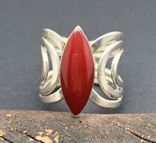 5 1/4 Sz 5.25 From Taxco Mexico New Mexican Red Jasper Ring Sterling 925 Silver