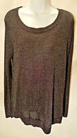 Hannah Women's Blouse Sweeter Top Black Sparkle Long Sleeve Side Slits Size XL