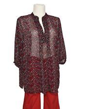 Bluse -Grandiosa- Damen Gr. 52 3/4-arm geblümt schwarz rot weiß transparent