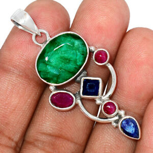 Emerald, Ruby & Sapphire 925 Sterling Silver Pendant Jewelry BP107488