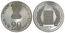 INDIA 20 RUPEES 1973-B (PROOF) *SCARCE & HEAVY CAMEO*