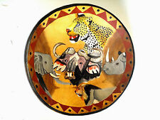 Hand Carved Wooden Big Bowl African Safari Animals Painted Woodcarving Decor NOS