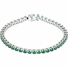 "Genuine Emerald Tennis 7"" Bracelet In Platinum"
