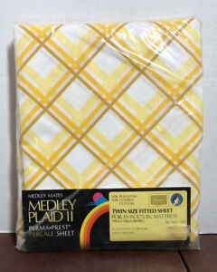 NEW Vintage Sears Medley Mates Yellow Gold Plaid II Twin Fitted Sheet Percale