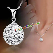Fashion Women Round 925 Sterling Silver Plated Pendant Necklace Chain Jewelry