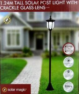 1.24 Tall Solar Post Light with Crackle Glass Lens Black Garden Lighting Battery