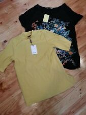 2 BARDOT Tops short sleeve 1 Ribbed sunset Yellow 1 mystic garden size 14 NEW