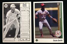 1989 OZZIE SMITH UPPER DECK 1 COLOR BLACK TEST CARD PROOF WITH NORMAL FRONT #E8a