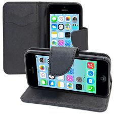 Housse Etui Coque NOIR Portefeuille Silicone PU Effet Tissu Apple iPhone 5C