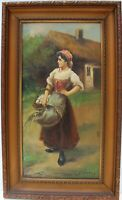 Antique  Oil Painting on Canvas, Portrait of a young woman, Signed, Framed