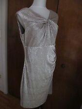 Ralph Lauren Women's White Gold Detailed Lined Evening NWT Dress size 16