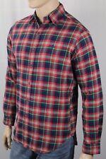 Ralph Lauren Red Green Plaid Classic Flannel Dress Shirt Blue Pony 2xlt