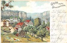 Sächs. Schweiz Die Schweizermühle Litho Postkarte 1904