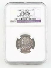 1758/7 Great Britain Sixpence Silver Coin XF Details NGC 6 Pence KM-582.2