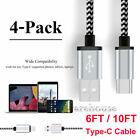 6/10 FT Braided Type C Fast Charging Cable USB-C Rapid Cord Power Charger Charge