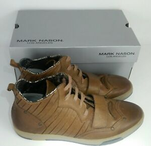 Lounge by Mark Nason Los Angeles Men's Chambord Brown Leather Shoes Sneakers 9.5