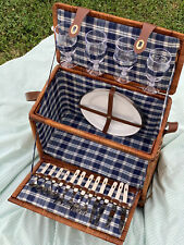 Brown Wicker Picnic Basket w/ Service For 4