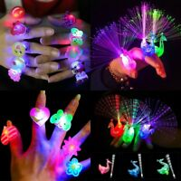 10Pc Kids LED Flashing Glow in Dark Finger Light Ring Xmas Party Favor Toy Gifts