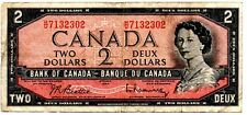 1954 Canada Two Dollar Bill Canadian British American 2 Dollar Bank Note (C201)