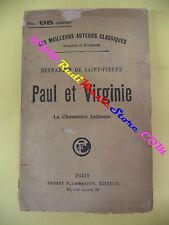 book libro Bernardin De Saint-pierre PAUL ET VIRGINIE ERNEST FLAMMARION (L19)