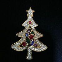 Signed Swan Swarovski Gold Plated Pave Cabachon Christmas Tree Brooch Pin