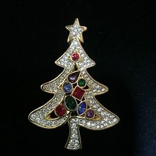 Signed Swan Swarovski Gold Plated Pave Cabachon Christmas Tree Brooch Pin