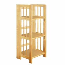 3 Tier Stackable Wood Bookshelf Shelving Display Storage Folding Unit