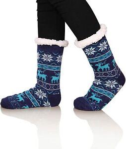 Women's Winter Super Soft Warm Cozy Fuzzy Snowflake Deer Fleece-lined With Blue
