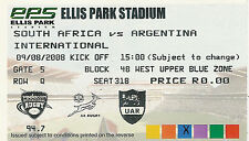 South Africa v Argentina 9 Aug 2008 Ellis Park, Jo'burg RUGBY TICKET
