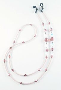 Beaded Eyeglass Chain/Holder~Classic Dusty Rose Pink Pearl & Silver~Crystal