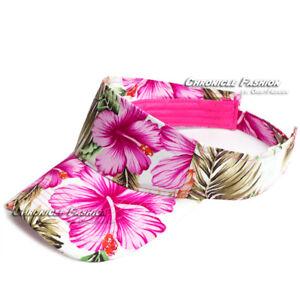 Sun Visor Cap Hawaii Tropical Floral Hat Adjustable Sports Golf Beach Men Women
