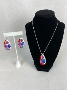 NFL Buffalo Bills Vintage Teardrop Spinner Earrings & Necklace Set
