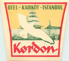 Hotel Kadiköy Kordon ~ISTANBUL TURKEY~ Artistic & Unique Old Luggage label, 1950