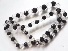 Vintage Art Deco Graduated Faceted Glass Bead Necklace Black And Clear