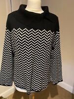 Precis Designer Ladies Jumper Black/White Knitted Smart Casual Size Large